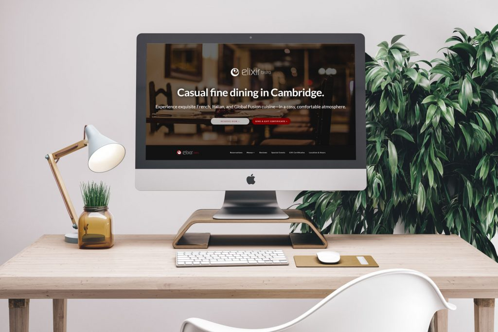 Clear Expanse Digital Marketing Agency in Toronto-Elixir BIstro Website Front Page